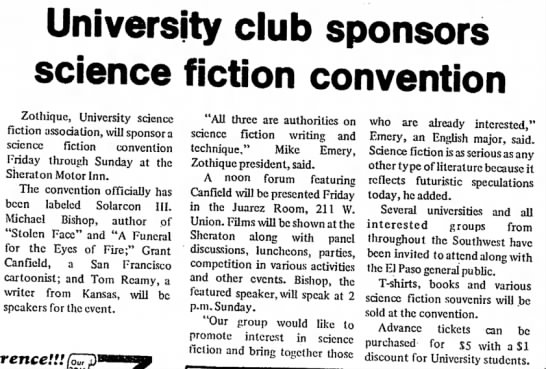 zothique April 22, 1977 - University club sponsors science fiction...