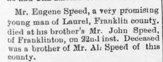 Eugene Davis Speed Death (26 Sep 1902, The Warren Record, Warrenton, NC) - Mr. Eugene Srieed, a very promising young man...