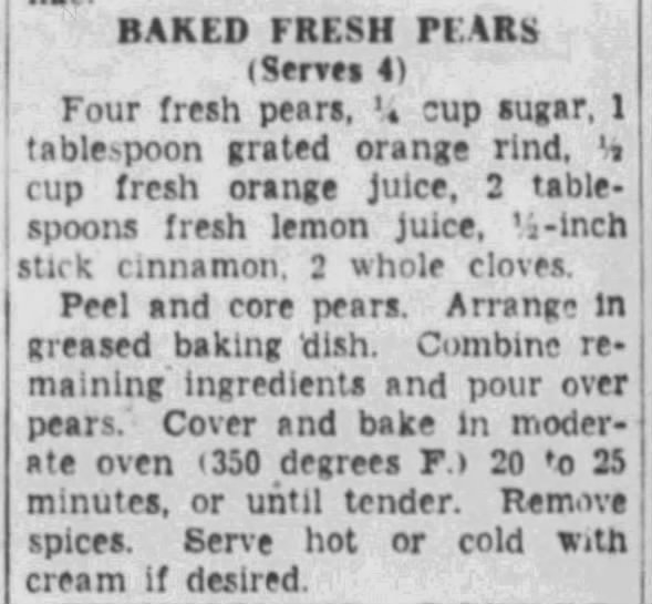 Baked Fresh Pears recipe, 1953