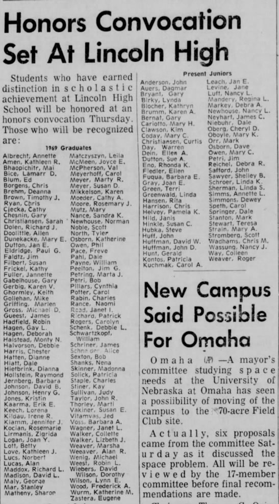 Rosemarie Kocian Lincoln High Graduate from Lincoln Star - 6 Oct 1969 - Honors Convocation Set At Lincoln High Students...