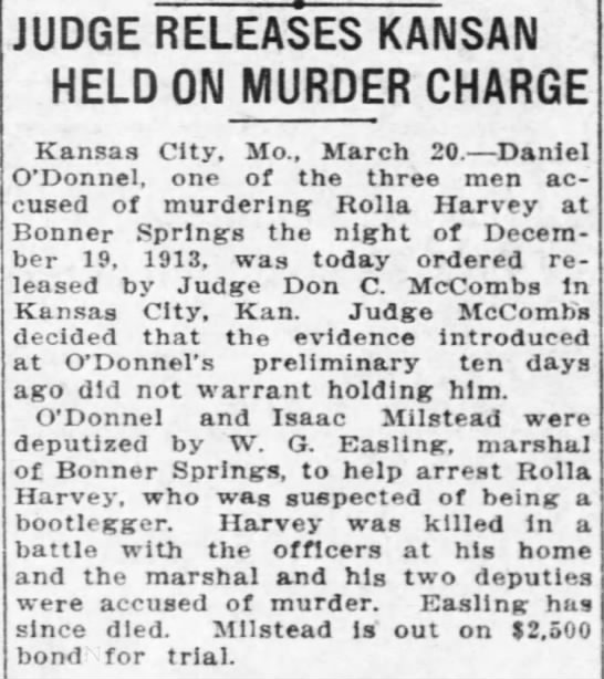 W.G. Easling - JUDGE RELEASES KANSAN I HELD ON MURDER CHARGE...