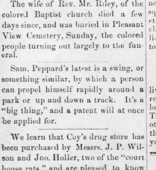 Peppard zip line? - The wife of Rev. Mr. Riley, of the colored...
