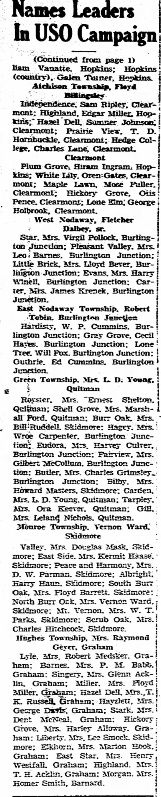 USO Grandma Jul 16 1942 pg 2 Maryville Daily Forum - Names Leaders In USO Campaign! meat: Highland....