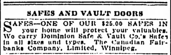 Dominion Safe and Vault ad 1910 - SAFES AND VAULT DOOIIS JAFES ONE OF OUR $25.00...