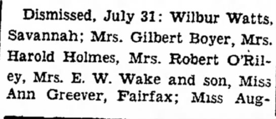 mom dismissed July 31 - Dismissed, July 31: Wilbur Watts, Savannah;...