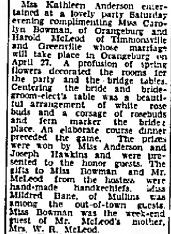 Harold M McLeod and bride - Mss Kathleen Anderson entertained entertained...