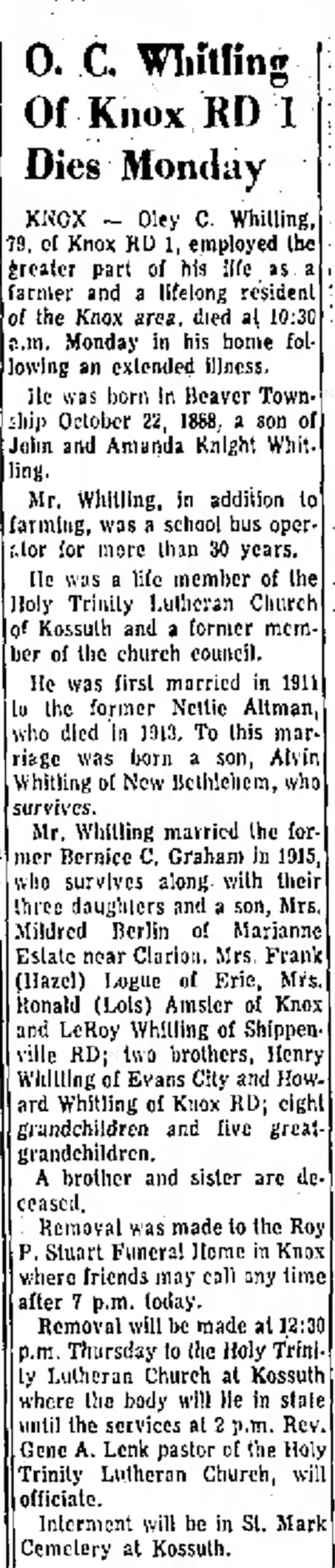 Oley C Whitling obit April 30 1968 - M. Plant registered of the Wednesday. 0, C...