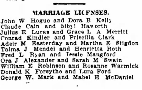 5/7/1911 - MARRIAGE LKFN9ES. John W Hogue and Dora B Kcllj...
