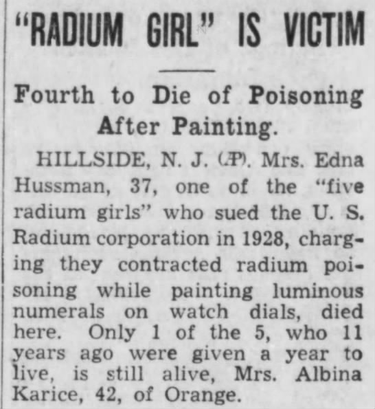 "Radium Girl fourth to die of poisoning - ""RADIUM GIRL"" IS VICTIM Fourth to Die of..."