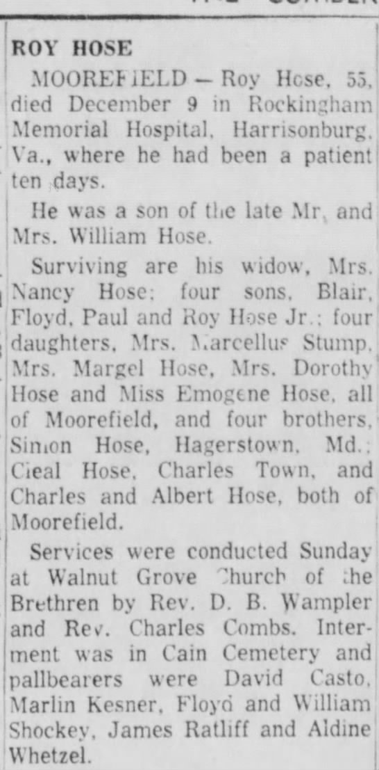 Roy hose obit - memorial riospuai. uar Va.t where he had been a...