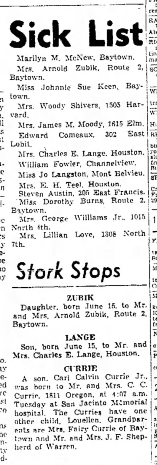Wanda Zubik and Beverly Zubik -- Birth Announcement - North -ith. Mrs. Lillian 7th. Sick List Marilyn...