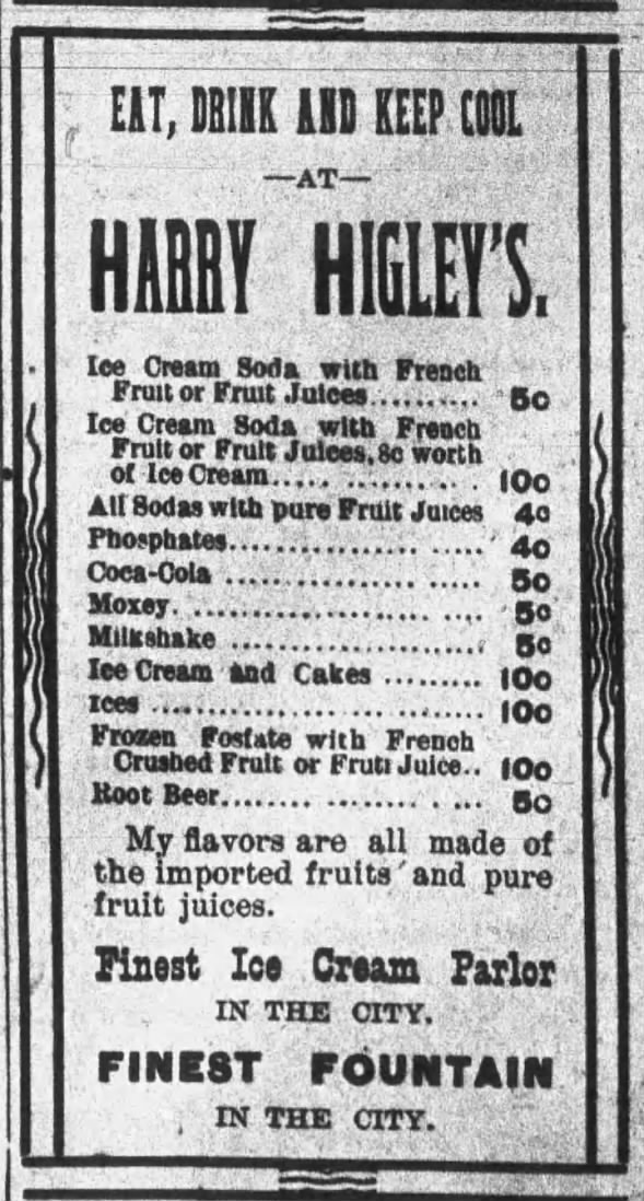 Soda fountain ad, 1896 Nebraska