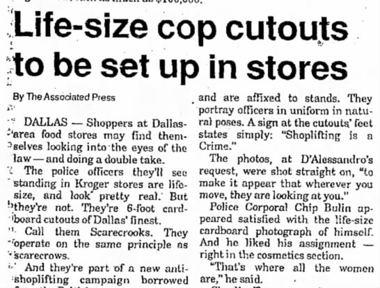 Life-Size Cop Cutouts In Stores - Life-size cop cutouts jto be set up in stores...