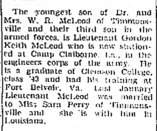 Gordon Keith McLeod - The youngest son of Dr. and Mrs. W. R, McLcod...