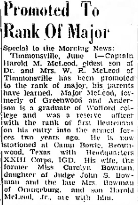 Military promotion of Harold M McLeod - Box Mrs. T.--Mrs. Promoted To Rank Of Major...