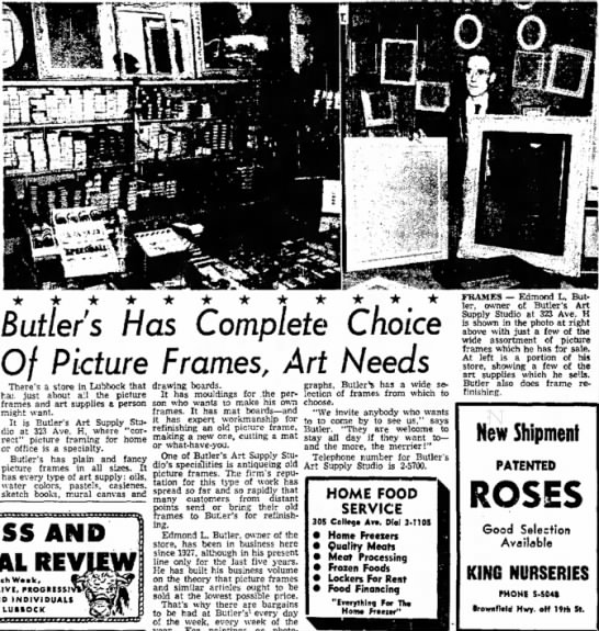 Butlers Picture Frames Lubbock Paper 29 March 1954 - Butlers Has Complete Choice Of Picture Frames,...