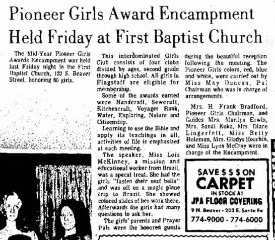1973 Feb 28 - Gladys Houchin - should I his yoa ebett L. A., Pioneer Girls...