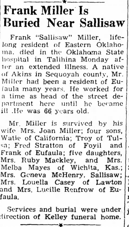 - Frank Miller Is Buried Near Sallisaw Frank...