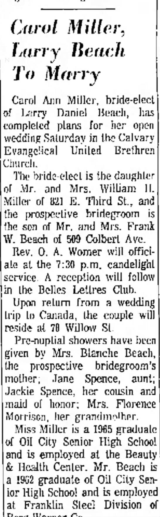 Larry Beach & Carol Miller wedding announcement June 1965 - u l t i divorcee--while l e Ihe to promotion i...