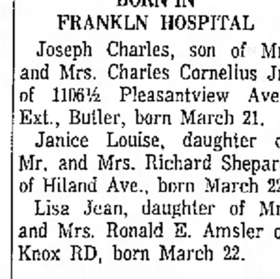 Lisa Jean Amsler birth announcement - FRANKLN HOSPITAL Joseph Charles, son of Mr. and...