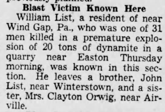 William List 1899-1942 Death caused by blast - Blast Victim Known Here William List, a...