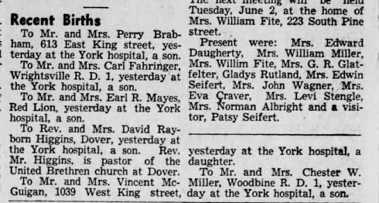 Preston #1 - Recent Births To Mr. and Mrs. Perry Brabham,...