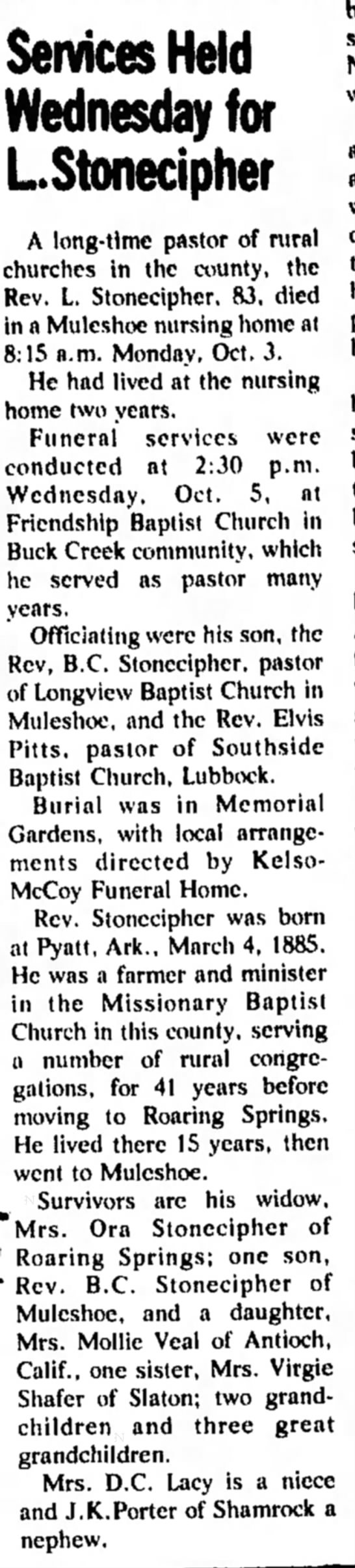 - Services Held Wednesday for LStonecipher A...
