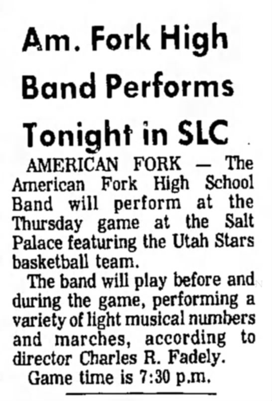 Daily Herald 03/25/71 - Am. Fork High Band Performs Tonight in SLC...