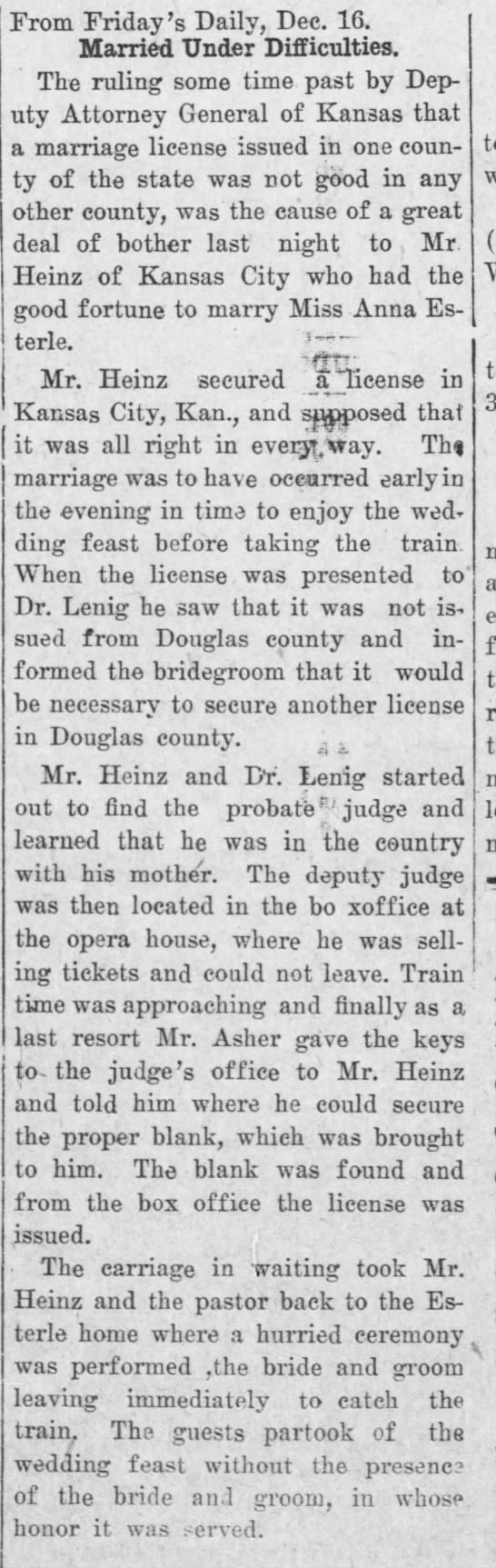 Heinz - Esterle wedding - From Friday's Daily, Dec. 16. Married Under...