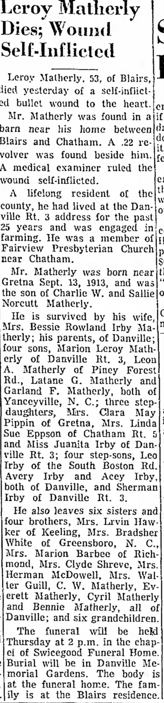 The Danville Register (Danville, VA) 15 March 1967 - Leroy Matlierly Dies; Wound SelMiiflictctl...
