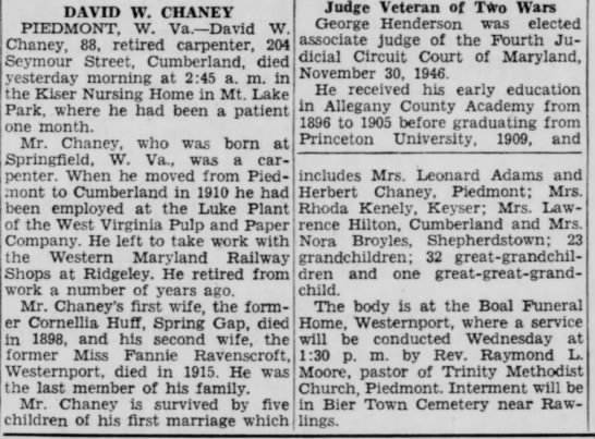 C Evening News 17 May 1948; Obituary David W Chaney - DAVID W. CHANEY PIEDMONT, W. Va.—David W....