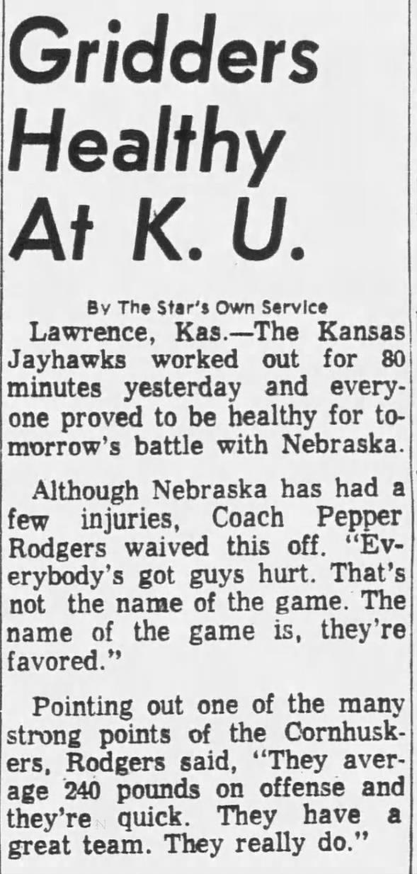 1970/10/15 Kansas practice Thursday
