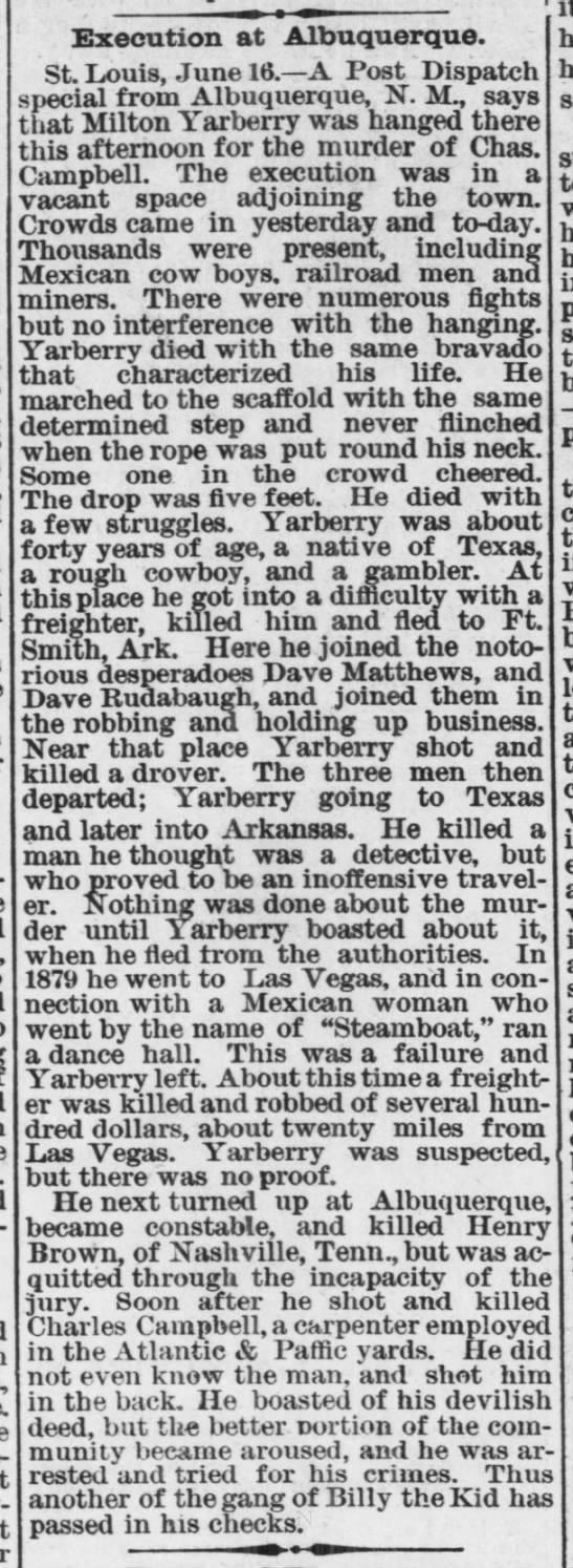 1882-06-17 Execution at Albuquerque of Milton Yarberry - carry- Execution at Albuquerque. St. Louis....