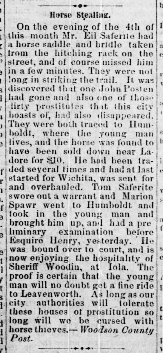 Marion Spawr chases down horse thief
