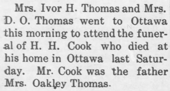 Death of H. H. Cook