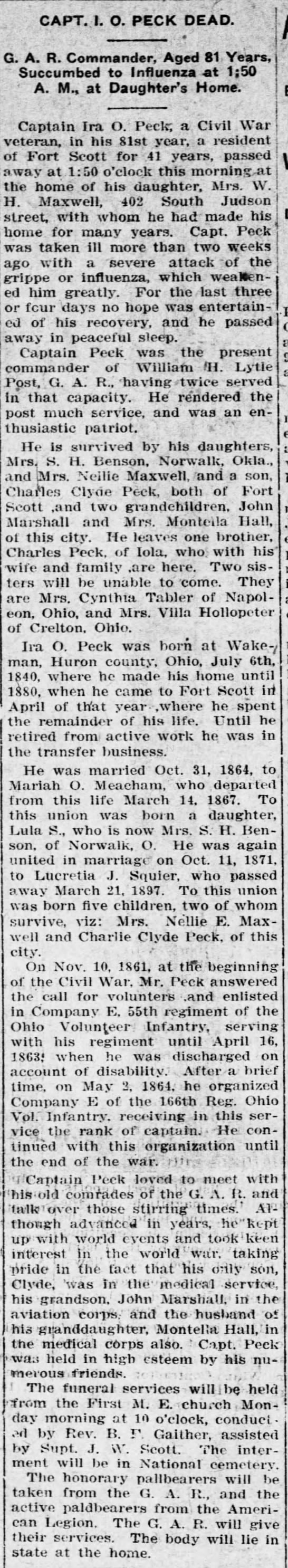 Peck, Ira O Obituary and bio. Ft Scott Daily Monitor. 16 Apr, 1921 - CAPT. 1. O. PECK DEAD. G. A. R. Commander, Aged...