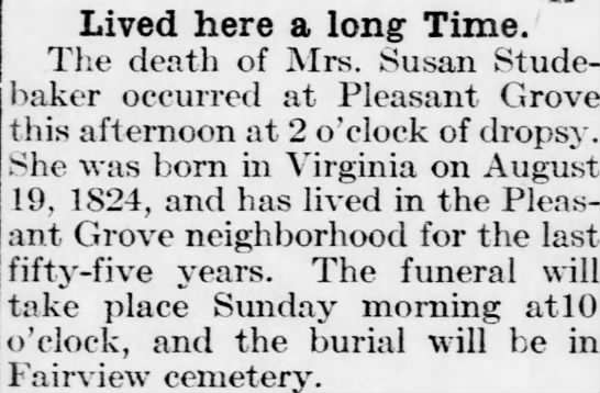 10/2/1912 The Jeffersonian Gazette Lawrence KS - Lived here a long Time. The death of Mrs. Susan...
