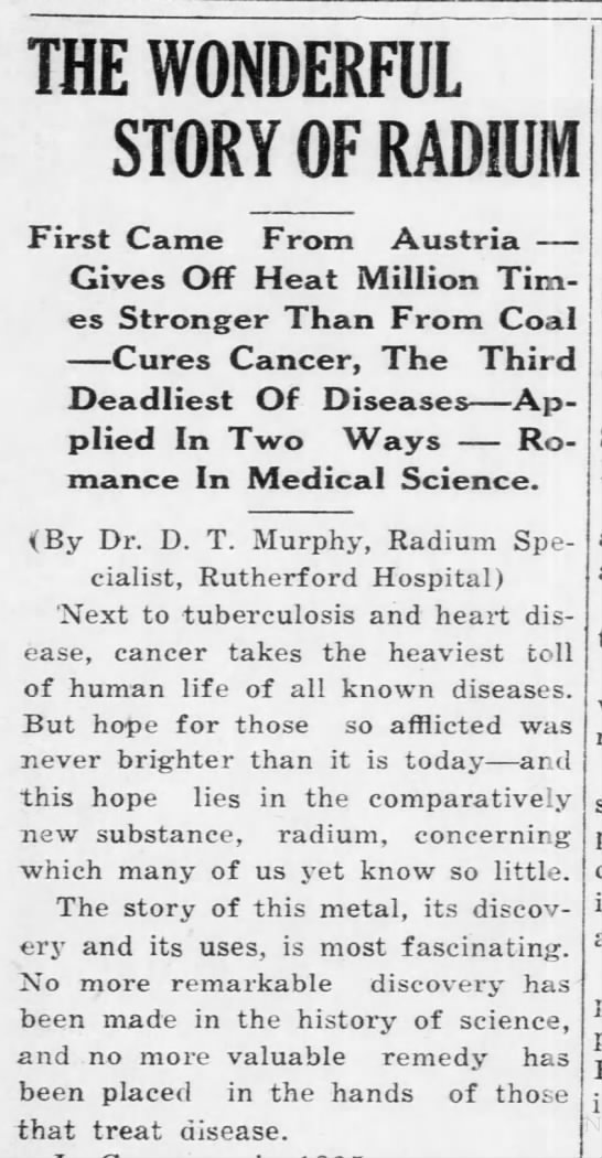 Radium, Rutherford Hospital - THE WONDERFUL STORY OF RADIUM First Came From...
