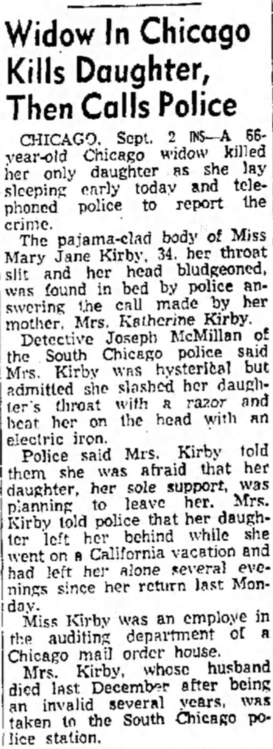 Mary Jane Kirby 3 - Widow In Chicago Kills Daughter, Then Calls...