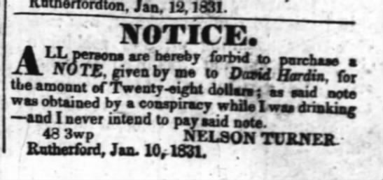 He's not paying - wiu-1 Kothertordton. Jan. 12,1831. NOTICE....