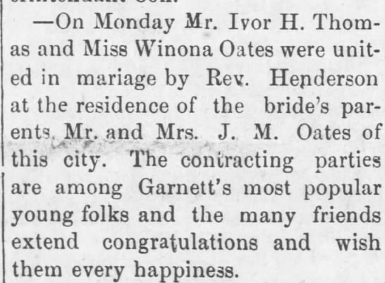 Ivor's Marriage - On Monday Mr. Ivor H. Thomas Thomas and Miss...