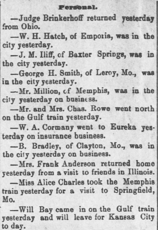 Memphis Kansas 1882 - Personal. Judge Brinkerhoff returned yesterday...