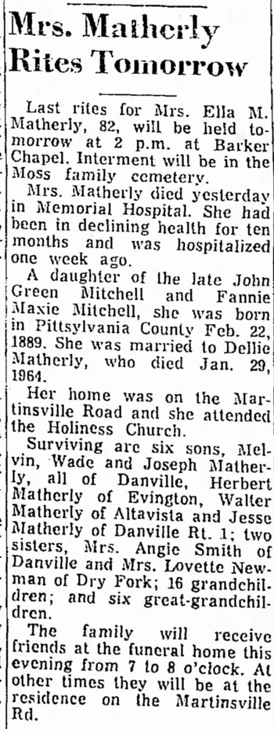Ella M Matherly The Danville Register (Danville, VA) 5 Oct 1971