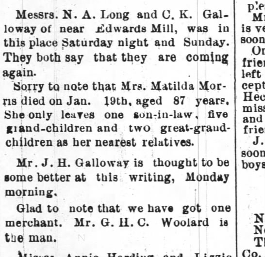 Matilda Morris - Messrs. N. A. Long and C. K. Galloway Galloway...