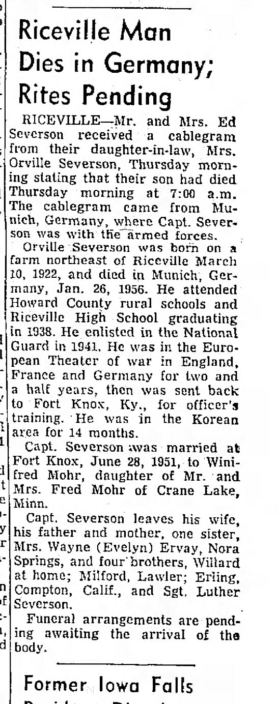 obituary 28 Jan 1956 - to Riceville Man Dies in Germany; Rites Pending...