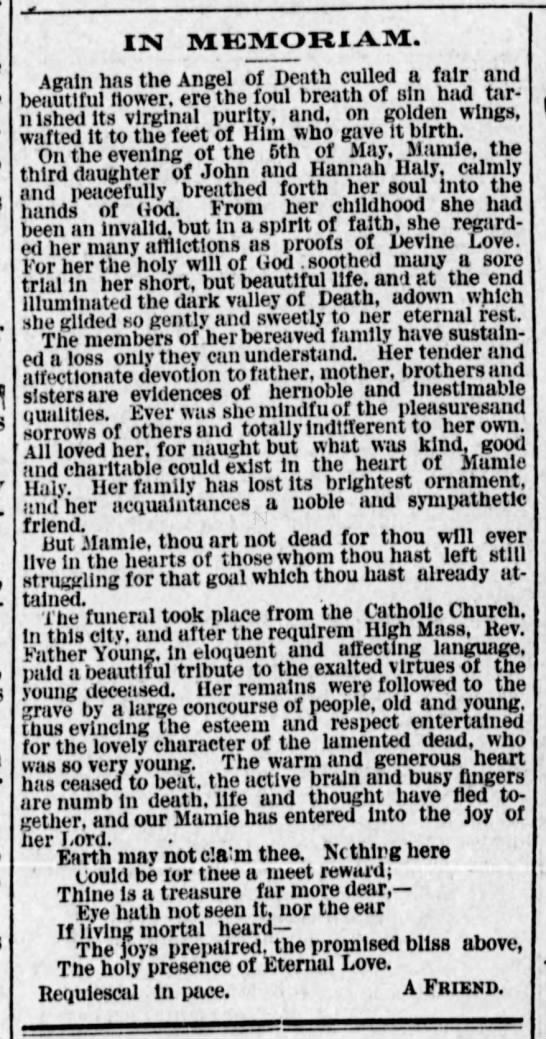 Haly Mamie FR 22 May 1886 - IN MKMOBIAM. Again hns the Angel of Death...
