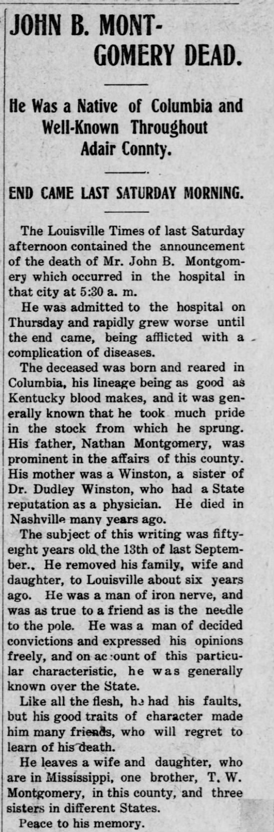 Montgomery - JOHN B MONT GOMERY DEAD He Was a Native of...