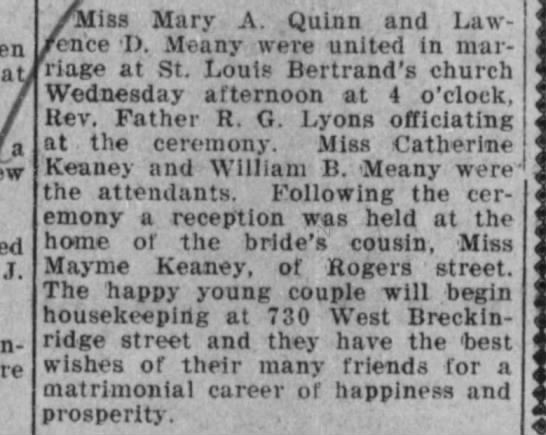 Mary Ann Quinn Meaney - marriage announcement - ab J. Miss Mary A. Qulnn and Law- ence I)....