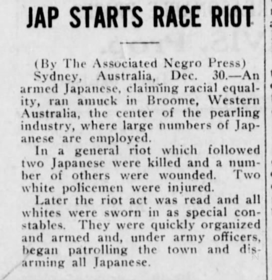 Tulsa Star, 1 January 1921 - JAP STARTS RACE RIOT (By The Associated Negro...