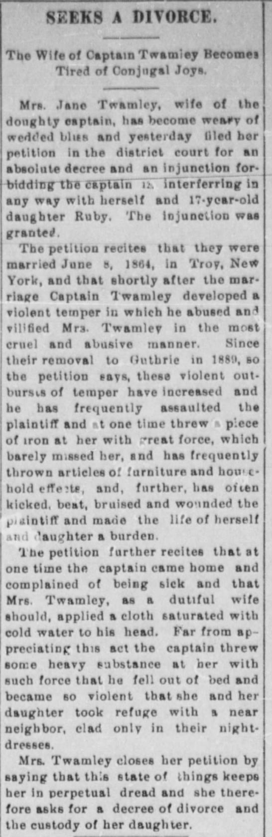 Mrs. Jane Twamley Seeks Divorce - SEEKS A DIVORCE. Tlio Wife of Captain Twamloy...